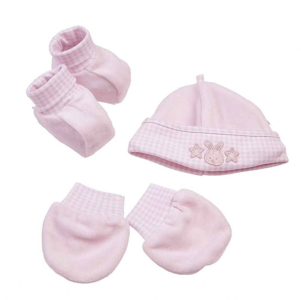 AV2269 Little Star Bunny Hat Mitts & Bootees Pink